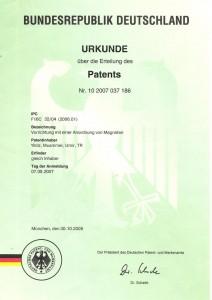 N ° de brevet mondial PCT / EP2008 / 006459 - NR de brevet allemand 10/2007/037186